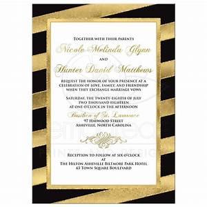 bold diagonal stripes wedding invitation black gold With black and gold scroll wedding invitations