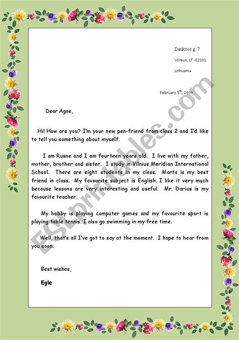 english worksheets informal letter rules