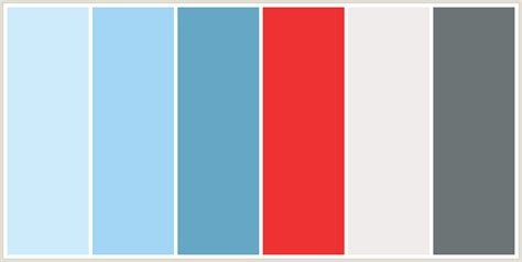 colors that go with blue colorcombo134 with hex colors ceebfb a3d6f5 66a7c5 ee3233 f0eceb 6c7476