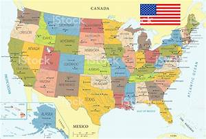 Map Of United States Vector Stock Illustration