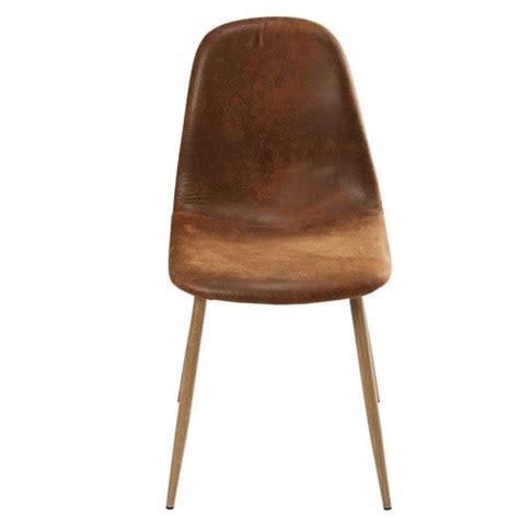 chaise style scandinave en microsuede marron vieilli clyde