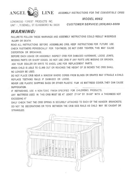 Angel Line Convertible Cribs 962 User Manual | 1 page