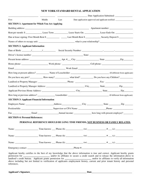short term rental application form free new york rental application form pdf eforms