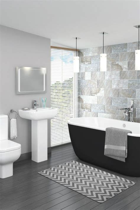 Modern Bathroom Gray Tile by Pro 600 Black Modern Free Standing Bath Suite In 2019