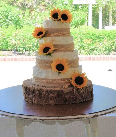 Sunflower Rustic Wedding Cake And Cupcakes