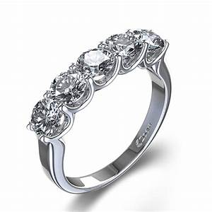 five stone 1 6 ctw diamond wedding ring in 14k white gold With five stone wedding rings