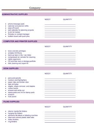 office supply list office supply request small business free forms