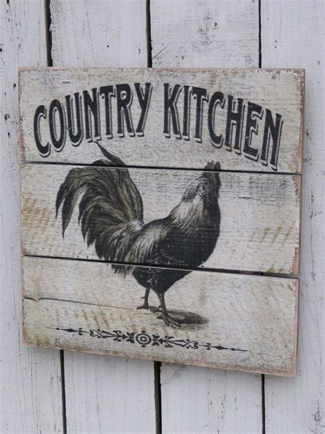 country kitchen wall decor primitive vintage style wood rooster country kitchen sign 6748