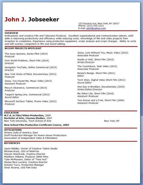 production resume format production resume template resume builder