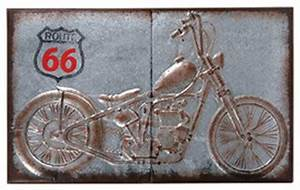 metal route 66 motorcycle wall plaque eclectic artwork With kitchen cabinets lowes with route 66 metal wall art