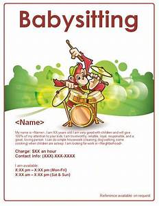 Babysitter Flyer Sample Monkey Playing Music Babysitter Flyer Template