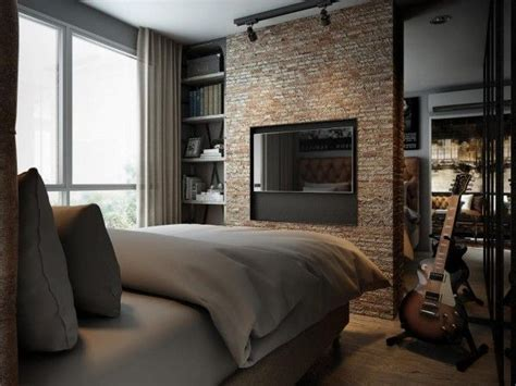 Three Colored Loft Apartments With Exposed Brick Walls by Three Colored Loft Apartments With Exposed Brick