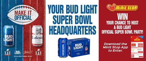 bud light superbowl sweepstakes bud light official super bowl party sweepstakes minit