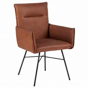 chaise cuir camel pieds metal casita meubles gibaud With meuble salle À manger avec chaise cuir couleur