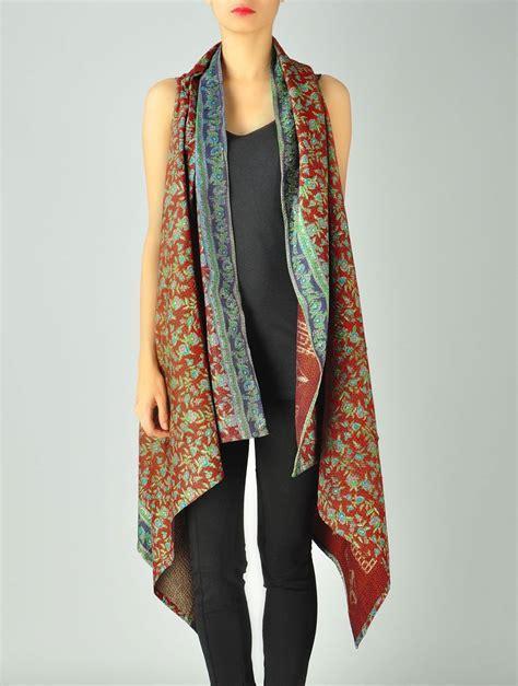 Buy Rusty Upcycled Silk Saree Kantha Shrug (Free Size