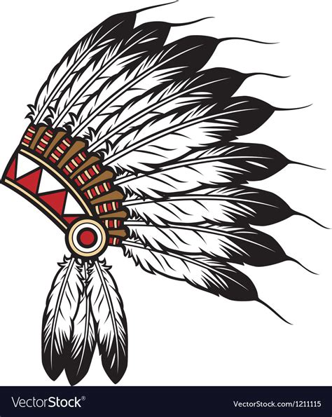 Indian Chief Image by American Indian Chief Headdress Royalty Free Vector