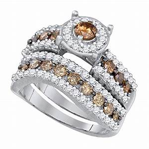 black diamond jewelry white gold 17 cttw 10k white With chocolate wedding ring sets