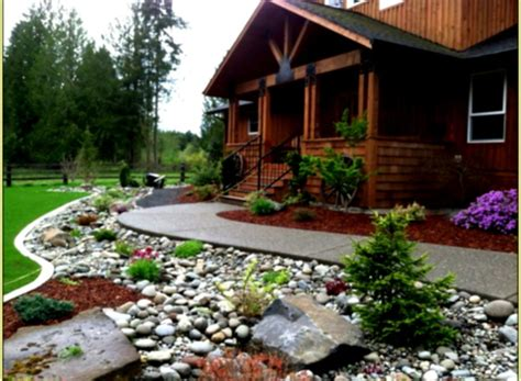 rock landscaping front yard design ideas  country