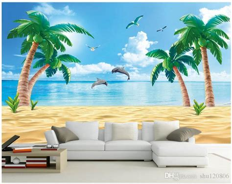 wallpaper custom photo  woven mural hd beach coconut