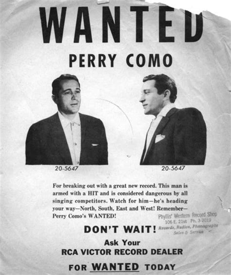 perry como wanted perry como s wanted poster 171 the infomercantile