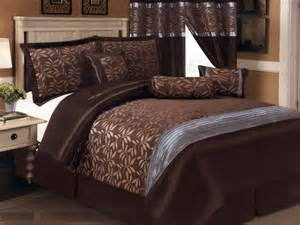 7 pc satin striped leaf leaves jacquard comforter set brown chocolate gray queen ebay