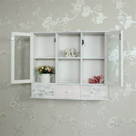 shabby chic wall mounted shelves wall mounted grey wooden storage shelving cabinet shabby vintage chic bathroom ebay