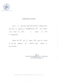Certification Resume Sle by Employment Certificate Sle Employment In 2019 House