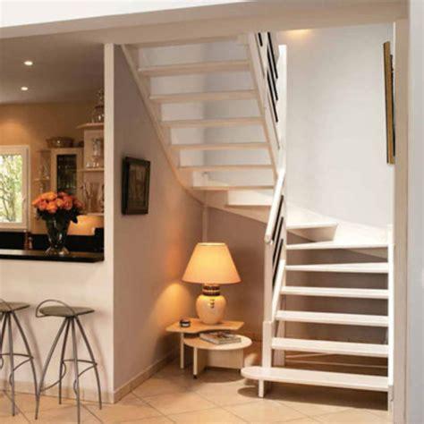 escalier deux quart tournant en bois sans contremarche