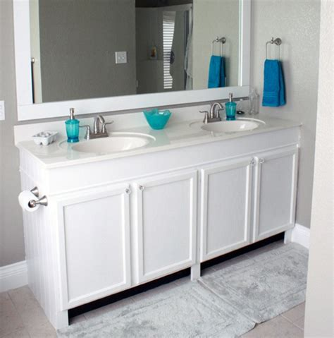 how to attach sink to vanity remodelaholic how to raise up a short vanity