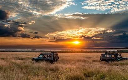 Sunset Safari Africa Sky Horizon Adventure Wallpapers