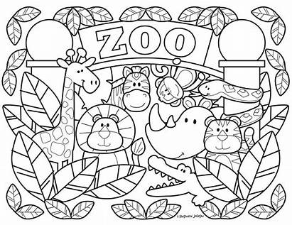 Zoo Coloring Pages Printable Animal Animals Colouring