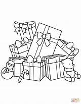 Coloring Christmas Gifts Presents Pages Gift Teddy Bear Printable Drawing Fun Sheets sketch template