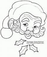 Santa Coloring Claus Christmas Countdown Pages Face Beard Calendar Drawing Nostalgic Pencil Drawings Printable Clipart Portrait Template Father Line Cliparts sketch template