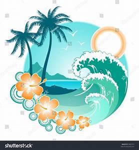 Image Gallery hawaiian waves clip art