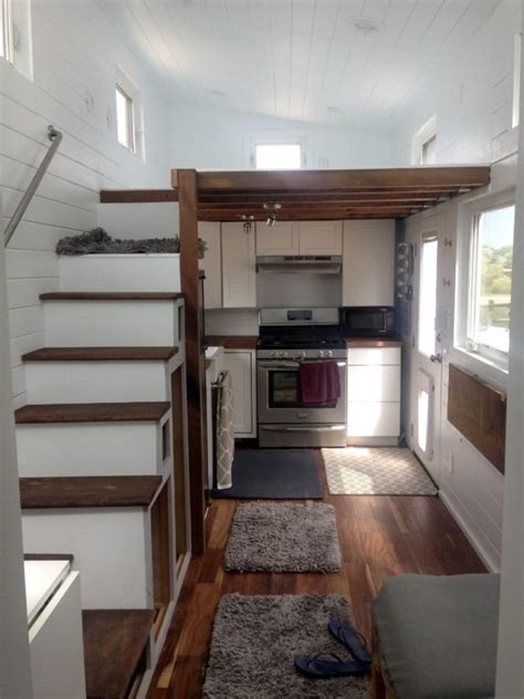 tiny house  lofts rooftop deck  tiled shower
