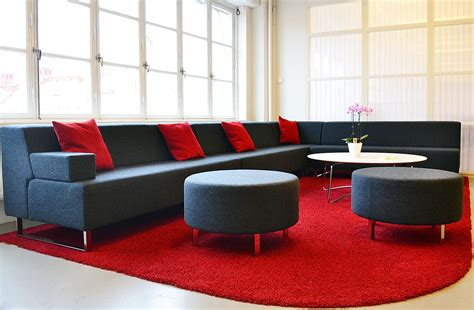 Office Furniture And Seating by Low Back Modular Sofa With Circular Ottoman Seating