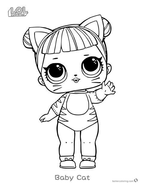 lol surprise doll coloring pages series  baby cat