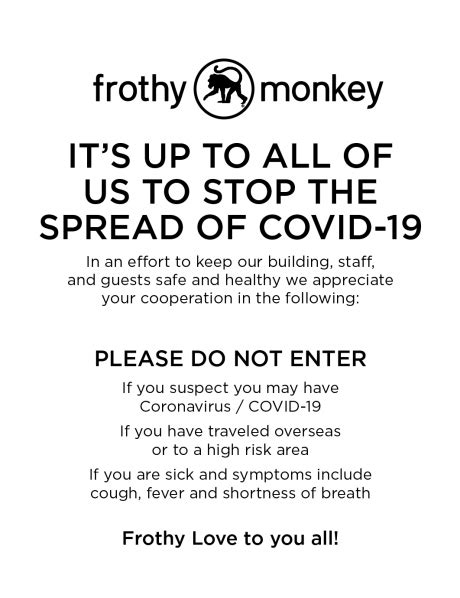 COVID-19 Updates / Hours | Frothy Monkey