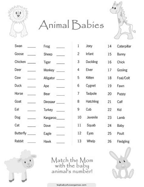 baby animals names worksheet baby shower ideas 12 free templates