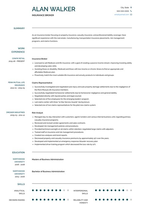 Insurance Resume Sle by Insurance Broker Resume Sles Templates Visualcv