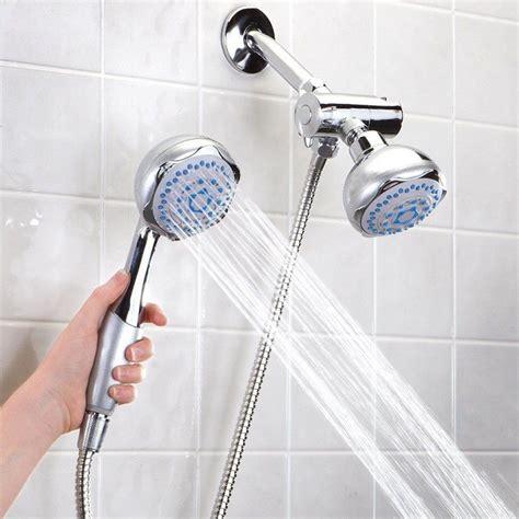 Silver Bathroom Wallmounted Dual Head 2 In 1 Bath Shower