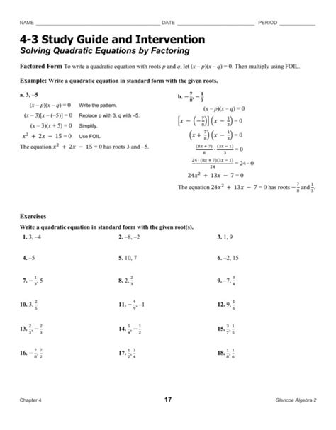 4 3 Skills Practice Solving Quadratic Equations By Factoring Answer Key Tessshebaylo