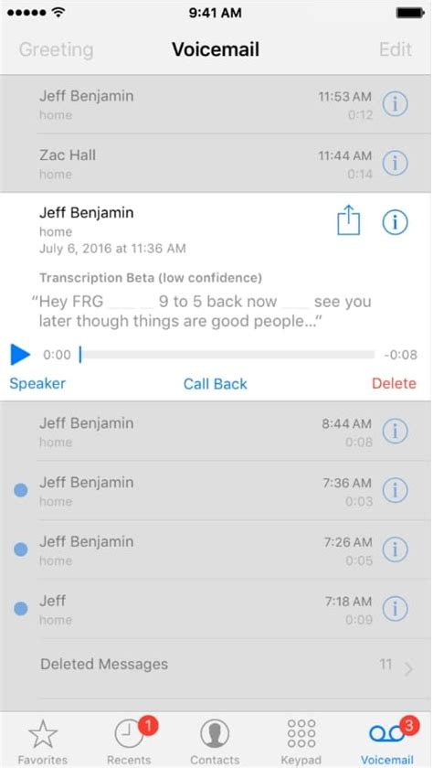 how to listen to voicemail on iphone how to use voicemail transcript in ios 10 on iphone