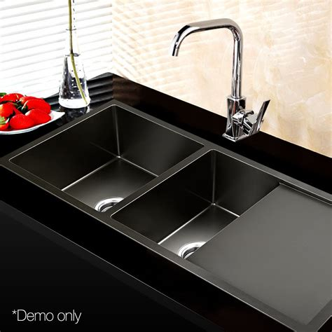 black stainless kitchen sink buy cefito 1000 x 450mm stainless steel sink black