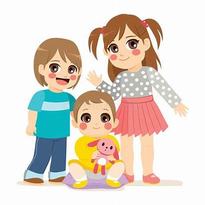 Sister Brother Siblings Clipart Cartoon Boy Middle