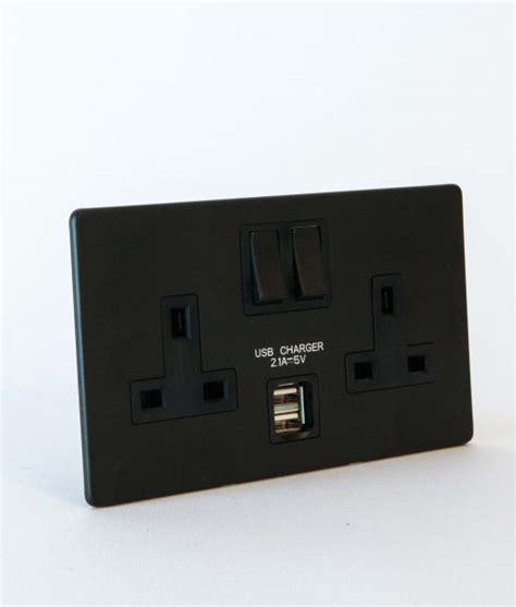 BLACK DOUBLE PLUG SOCKET USB   2 Gang Black