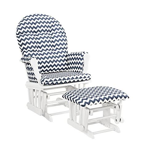 angel line windsor glider and ottoman windsor glider and ottoman white w navy chevron furniture
