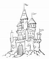 Castle Drawing Disney Kingdom Palace Drawings Magic Cartoon Coloring Castles Sketch Pages Draw Simple Tower Plate Easy Chateau Dessin Ak0 sketch template