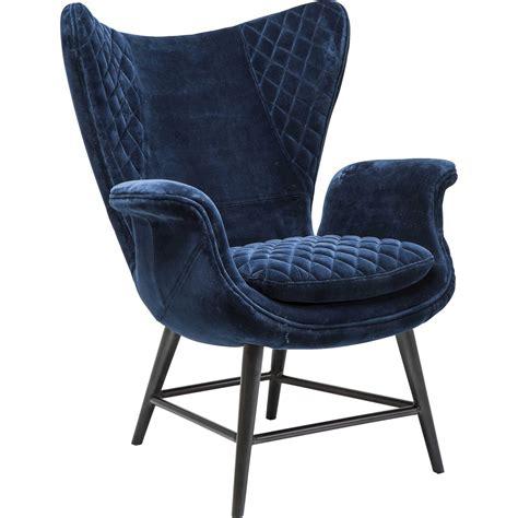 fauteuil retro en velours bleu tudor kare design