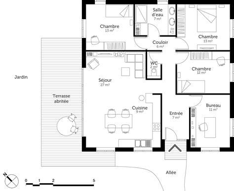 plan de maison 3 chambres plan maison moderne avec 3 chambres ooreka